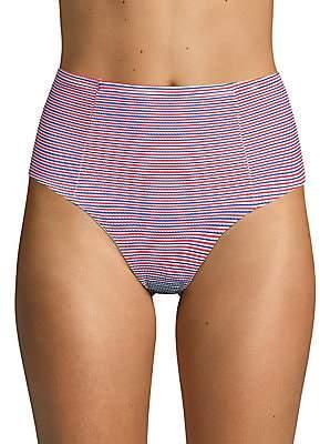 Onia Women's Striped High-Waist Bikini Bottom