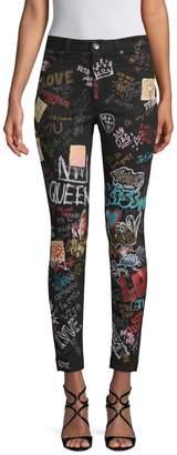 Dolce & Gabbana Women's Graffiti-Print Skinny Jeans