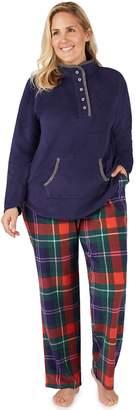 Cuddl Duds Plus Size Winter Kangaroo Henley Top & Pants Pajama Set