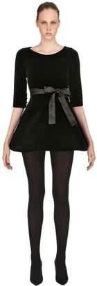 Velvet Mini Dress With Leather Belt