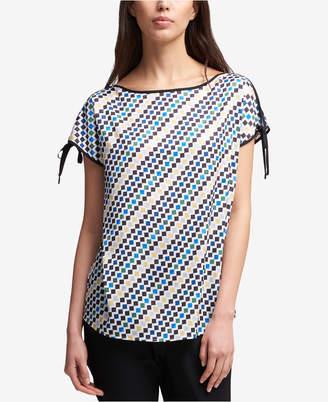 DKNY Printed Tie-Sleeve Top