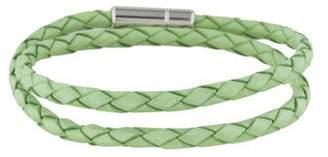 Tateossian Light Green Leather Double Wrap Bracelet