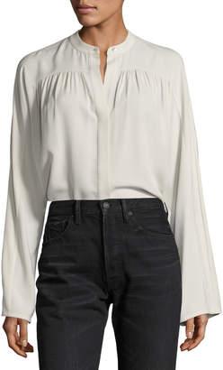 1d752ff6c116a5 Vince Shirred Long-Sleeve Silk Blouse