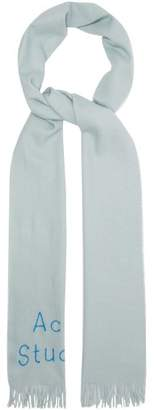Acne Studios Skinny Logo Wool Twill Scarf - Womens - Light Grey