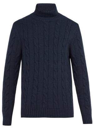 Thom Sweeney - Cashmere Cable Knit Roll Neck Sweater - Mens - Navy