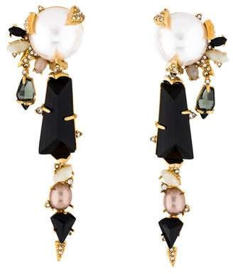 Alexis Bittar Faux Pearl, Moonstone, & Crystal Clip-On Drop Earrings