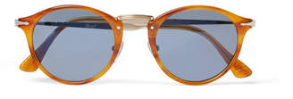Persol Round-Frame Tortoisehell Acetate And Silver-Tone Sunglasses