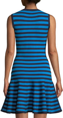 Michael Kors Striped Sleeveless Flounce Dress