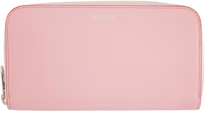 Versace Pink Logo Zip Around Wallet