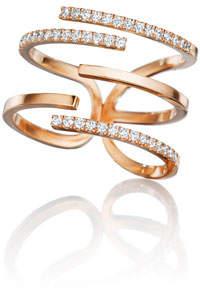 Mimi So Piece 18k Rose Gold Diamond Stick Ring