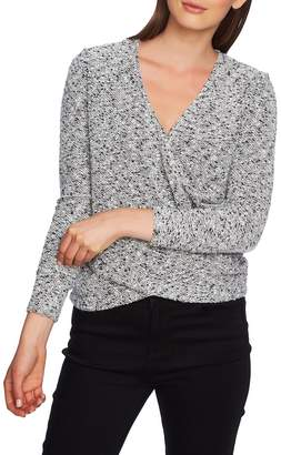 1 STATE 1.STATE Wrap Front Boucle Knit Top