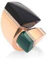 Roberto Coin Sauvage Prive Diamond, Black Jade& Malachite Bypass Ring
