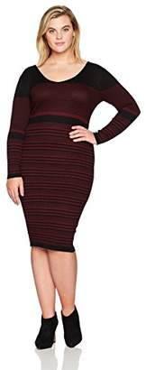 Gabby Skye Women's Plus Size 3/4 Sleeve V Neck Sweater A-line Dress