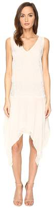 Just Cavalli Sleeveless V-Neck Embroidered Handkerchief Hem Dress Women's Dress