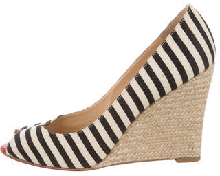 Christian Louboutin  Christian Louboutin Canvas Peep-Toe Espadrille Wedges