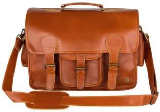 Buffalo David Bitton Mahi Leather Large Leather Harvard Satchel Messenger Bag In Tan