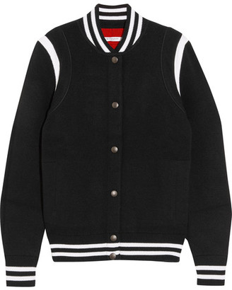 Givenchy - Striped Wool-blend Bomber Jacket - Black $1,495 thestylecure.com