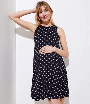 LOFT Petite Maternity Polka Dot Sleeveless Swing Dress
