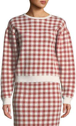 ENGLISH FACTORY Crewneck Mutton-Sleeve Gingham Knit Top