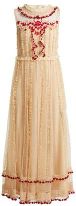 RED Valentino Ruffle Trimmed Lace Dress - Womens - Ivory