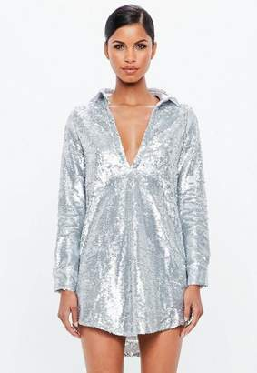 Missguided Silver Sequin Cuffed Shirt Dress