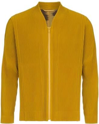 Issey Miyake Homme Plissé yellow Plissé front zipped jacket