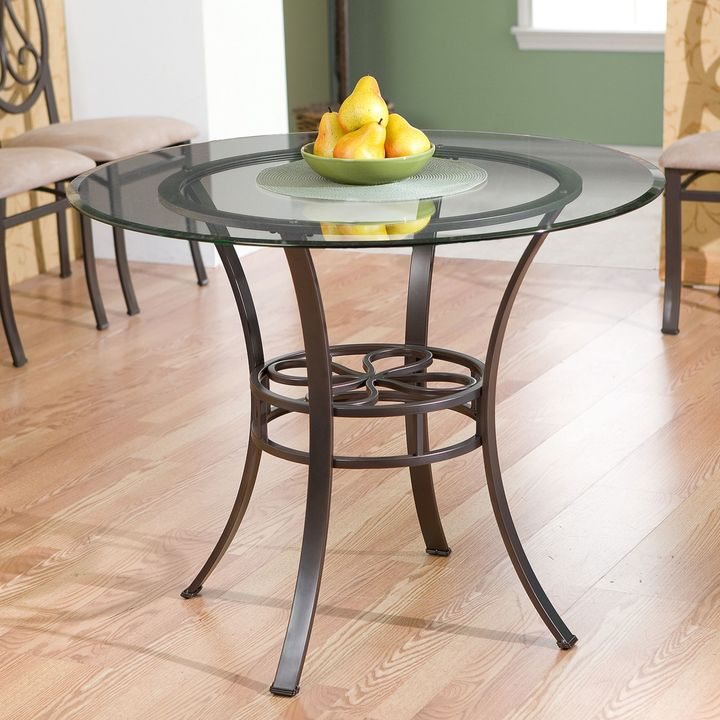 Bed Bath & BeyondSouthern Enterprises Paisley Dining Table with Round Glass Top in Dark Brown