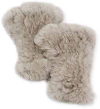 Adrienne Landau Knit Rex Rabbit Fur Fingerless Gloves