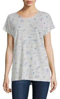 Joie Riker Floral-Print Striped Tee