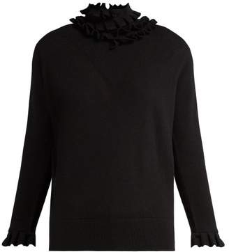 Barrie - Flying Lace Ruffle Neck Cashmere Sweater - Womens - Black