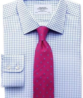 Charles Tyrwhitt Extra slim fit twill grid check sky blue shirt
