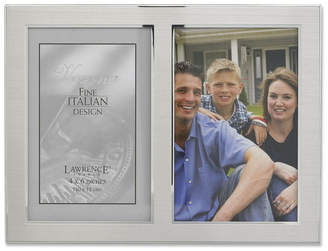 "Lawrence Frames Brushed Silver Metal and Shiny Metal Two Tone Hinged Double Opening Panel - 4"" x 6"""