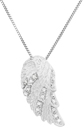 Diamond Accent Sterling Silver Feather Pendant Necklace