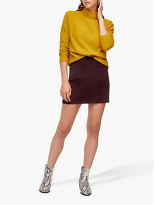 Warehouse Velvet Mini Skirt, Berry