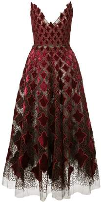 Oscar de la Renta geometric embroidery tulle gown