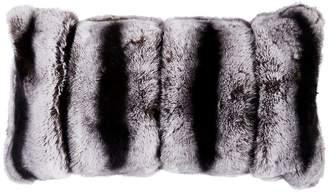 Adrienne Landau Chinchilla-Print Fur Decorative Pillow