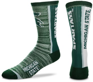 For Bare Feet Adult Michigan State Spartans Bar Stripe Crew Socks