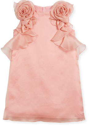 Charabia Silk Organdy Sheath Sleeveless Dress w/ Rosettes & Ruffles, Size 10-12