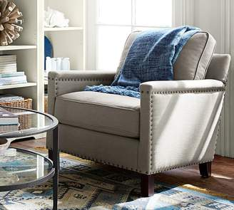 Pottery Barn Tyler Upholstered Square Arm Armchair With Nailheads