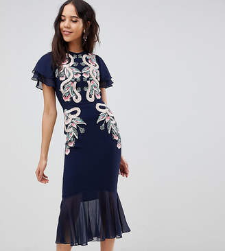 Frock and Frill Tall Frock And Frill Tall Embroidered Midi Dress With Chiffon Hem Detail