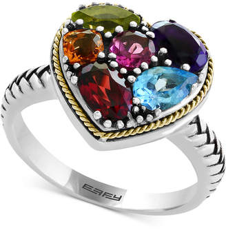 Effy Balissima by Multi-Gemstone Two-Tone Heart Ring (2-1/6 ct. t.w.) in Sterling Silver & 18k Gold