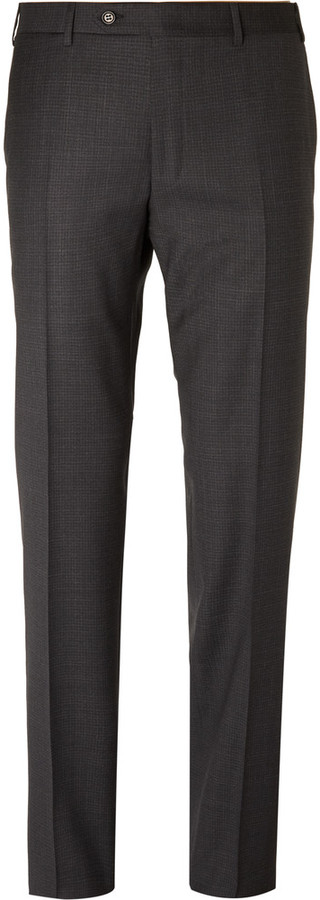 CanaliCanali Charcoal Sienna Slim-Fit Checked Super 130s Wool Suit Trousers