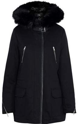 Maje Gafety Faux Fur-Trimmed Cotton-Blend Twill Coat