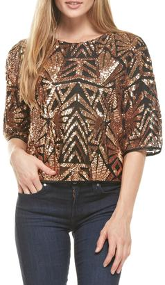 Everly Rose-Gold Sequins Top $72 thestylecure.com