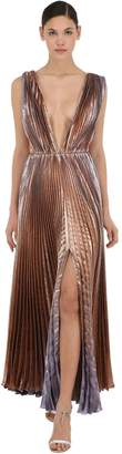 Azzaro Pleated Lamé Long Dress