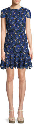 Alice + Olivia Imani Cap-Sleeve Lace Fit-and-Flare Dress