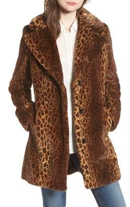Kensie Faux Fur Leopard Print Coat