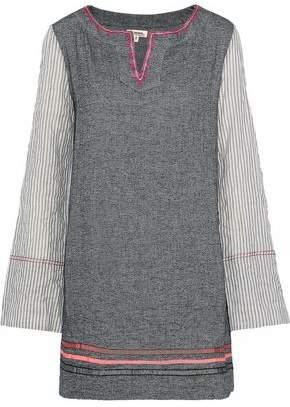 Lemlem Kito Striped Gauze-Paneled Herringbone Cotton-Blend Mini Dress