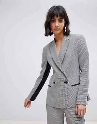 Asos Design DESIGN check suit blazer with contrast side stripe