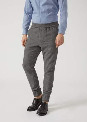 Emporio Armani Jersey Jogger-Style Trousers With Geometric Pattern